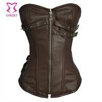 Vintage Brown Faux Leather Steampunk Corset Corselet Overbust Steel Corpetes E Espartilhos Corsets and Bustiers Gothic Clothing