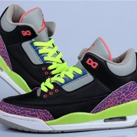 Hot Air Jordan 3 Retro Women Shoes Black Fluorescent Green