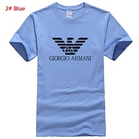 Giorgio Armani Fashion New Bust Letter Print Leisure Women Men Top T-Shirt 2# Blue