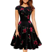 Women Vintage Print Flowers Midi Dress Fashion Summer Party Dress Vestidos