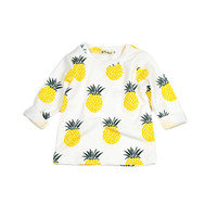 high quanlity baby Boys Girls Fleece Fruit Pineapple Pattern Full sleeve Autumn Tee Kids Clothing Toddler children clothes