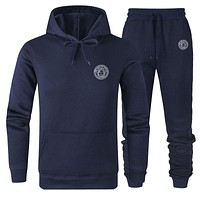 Versace new versatile cotton wild sports suit two-piece Navy blue