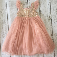 "The ""Lexi Three"" Peachy Pink Gold Sequin Party dress"
