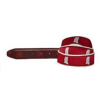 MS Starkville Leather Tab Belt in Red Ribbon with White Canvas Backing by State Traditions