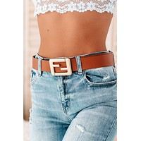 Eve Square Buckle Belt (Brown)