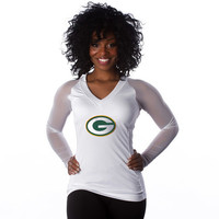 "Green Bay Packers Women's Official NFL ""Wildkat"" White Top"