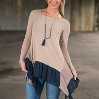 More Than Words Tunic, Taupe-Navy