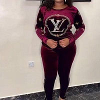 Louis Vuitton LV Women Casual Fashion Top Sweater Pullover Pants Trousers Set Two-Piece