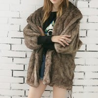 Women's Cuffed Fur Coat