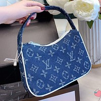 Louis Vuitton LV New Denim Printed Letters Women's Handbag Underarm Bag Handbag