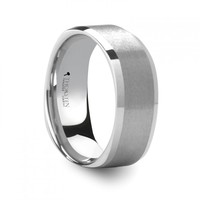 INDIGO Square Shape 8mm White Tungsten Ring with Brush Finished Center