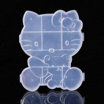 Cartoon Hello kitty Adjustable Storage Boxes Plastic Case Groceries Jewelry Storage Box Craft Organizer Storage Beads D1