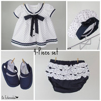 Baby Girl Sailor Outfit - Baby Girl White cotton dress with navy blue stars, baby diaper cover, beret and baby booties - 4-piece set