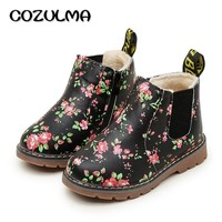 COZULMA Children Shoes Kids Ankle Boots Girls Boys Floral Flower Print Chelsea Boots Children Martin Boots Baby Toddler Shoes
