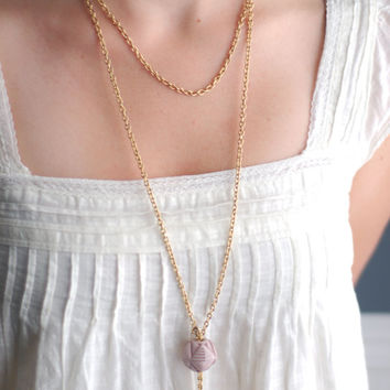 Extra long gold chain tassel pendant necklace with lavender light purple bead, recycled vintage materials