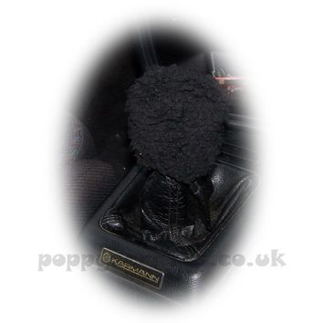 Black Sherpa fleece faux fur Sheep Skin Gear knob stick shift cover