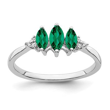 14k White Gold Marquise Created Emerald and Real Diamond 3-stone Ring