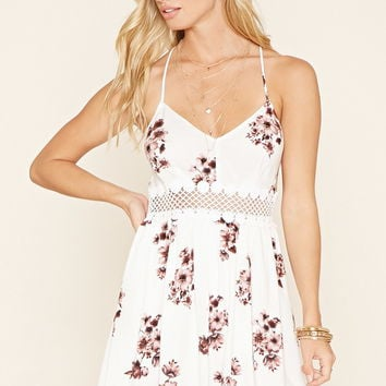 Floral Crochet-Cutout Dress