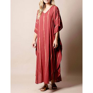 Serenity Cotton Caftan Dress - Ruby - As-Is-Clearance