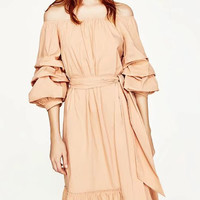 Nude Pink Off Shoulder Ruched Sleeve Ruffle Hem Midi Dress