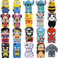 Disney Cartoon Heros Silicone Soft 3d Case Cover For iphone 4G 4S 5G 5S + 2 film
