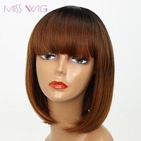 MISS WIG Black Ombre Brown Straight Bob Hair Short Wigs for Black Women Synthetic Wig High Temperature Fiber
