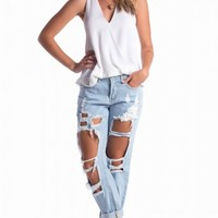 Django boyfriend jeans in blue | SHOWPO Fashion Online Shopping