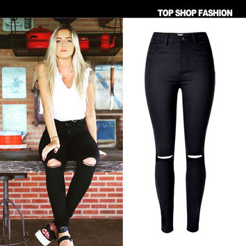 High Waist Stretch Ripped Holes Slim Strong Character Plus Size Jeans [10734934543]