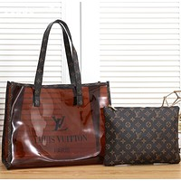 LV Louis Vuitton Fashion Hot Sale Transparent Jelly Printed Letter Two-piece Set Shopping Handbag Shoulder Bag Cosmetic Bag