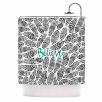 "Pom Graphic Design ""Believe"" Gray Teal Shower Curtain"