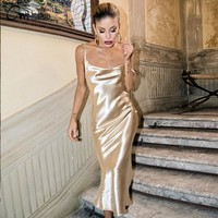 CWLSP Gold Open Back Sarafan Long Dress Female Party Strap Dresses Long vestido Backless Skinny Satin robe longue femme QL4100