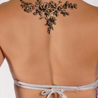 French Rose Floral temporary tattoo, Fashion Tattoo