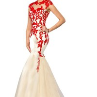Sunvary Champagne and Red Lace Mermaid Prom Dance Dresses for Evening 2016 Formal Gowns Mother of the Bride Dress US Size 6- Champagne and Red