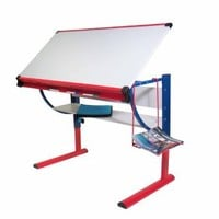 Martin Liberty Art-Hobby Table, Red and Royal with Tiltable White Top, 23-1/2-Inch by 46-Inch Surface