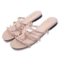 YSL 2019 new classic patent leather word with metal buckle open toe fashion flat female slippers pink