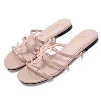 Yves saint Laurent YSL new classic patent leather word with metal buckle open toe fashion flat female slippers shoes pink