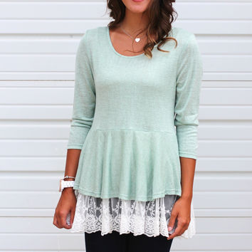 Laced Around Relaxed Peplum {Sage}