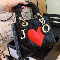 Hipgirls Dior New fashion love heart leather shoulder bag crossbody bag handbag women Black