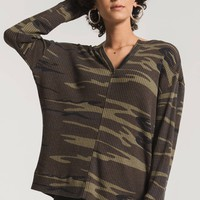 The Camo Thermal Split Neck Top- Camo Green