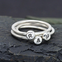 Personalized Stacking Ring, Sterling Silver Letter Ring, Hand Stamped Ring, Personalized Jewelry
