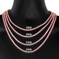 3mm Pink solitaire 3 Prong One Row Tennis Necklace