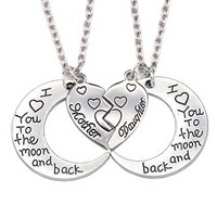 'I Love You to the Moon and Back' Mother Daughter Charm Pendant Necklace