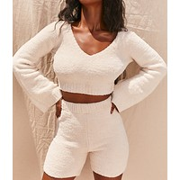 Casual fashion Plush V-neck open navel horn sleeve sweater and shorts 2-piece set
