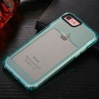 (Blue) With card slot tpu transparent creative protective sleeve wrestling soft case for iphone X 8 8Plus 7 7Plus 6s 6sPlus 6 6Plus