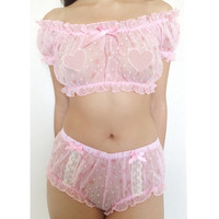 Pink Pixie Set (Semi-Sheer Peasant Blouse and Matching Bloomer)