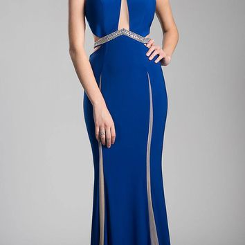 Beaded Waist Cut Out Back Long Prom Dress Royal Blue