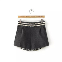 Lace Pleat Woolen Shorts With Pocket
