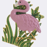 FLAMINGO ON THE GRASS BROOCH
