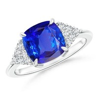 Cushion Tanzanite Solitaire Ring With Cluster Diamond Accents