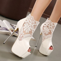 Design Summer High Heel Lace Hollow Out Sandals = 4814689092